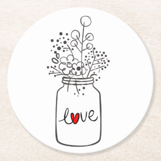Mason Jar Love Rustic Country Wedding Black White Round Paper Coaster