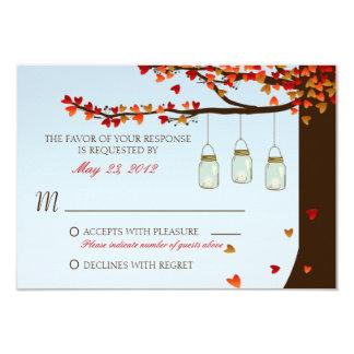 Mason Jar Oak Tree RSVP Card