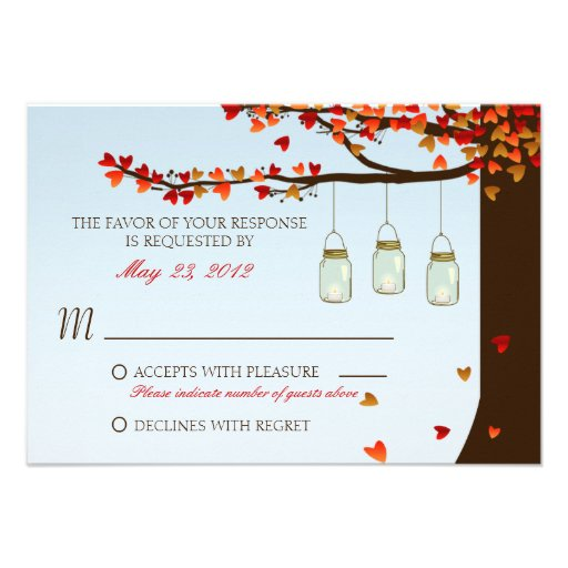 Mason Jar Oak Tree RSVP Personalized Invite