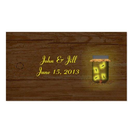 Mason Jar Of Fireflies Wedding Hang Tag Business Card Templates