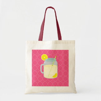 Mason Jar Of Lemonade + Berry Quatrefoil Tote Bag