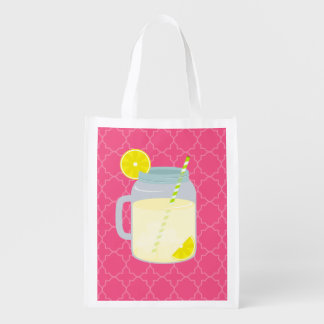 Mason Jar Of Lemonade Quatrefoil Reusable Grocery Bag