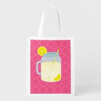 Mason Jar Of Lemonade Quatrefoil Reusable Grocery Bag