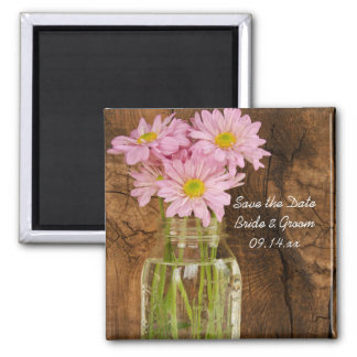 Mason Jar Pink Daisies Barn Wedding Save the Date Square Magnet