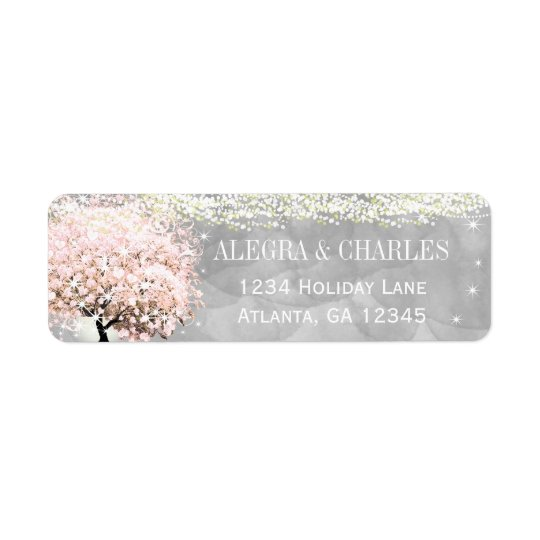 Mason Jar Pink Heart Leaf Tree on Grey Watercolor Return Address Label