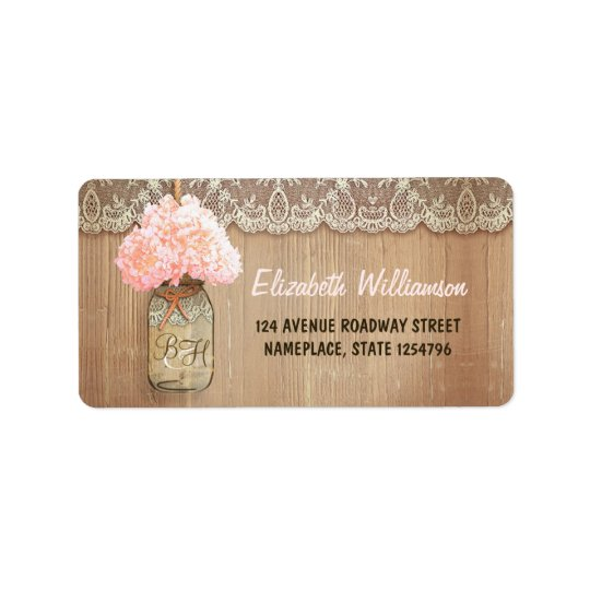 mason jar pink hydrangea address label for wedding