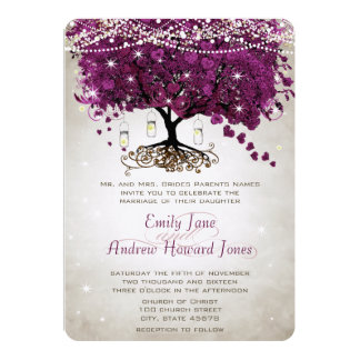 Mason Jar Radiant Purple Wedding Card