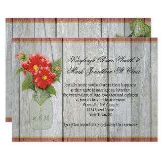 Mason Jar Red Dahlias Barn Wood Invitations