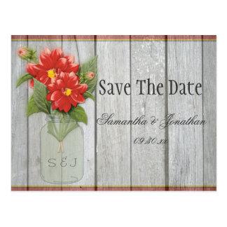 Mason Jar Red Dahlias Barn Wood Save The Date Postcard