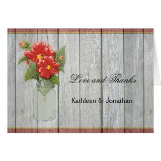 Mason Jar Red Dahlias Barn Wood Thank You Card
