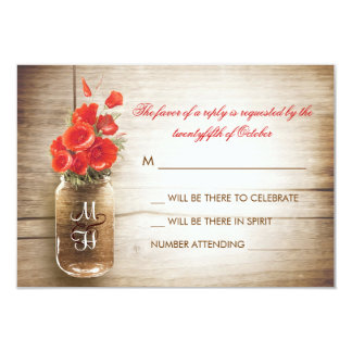 Mason jar & red flowers wedding RSVP card