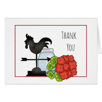 Mason Jar Rooster Geranium Thank You Card