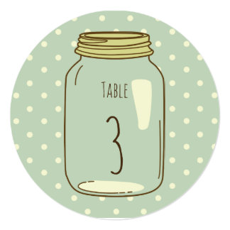 Mason Jar Round Table Number Light Blue Polka Dots Card