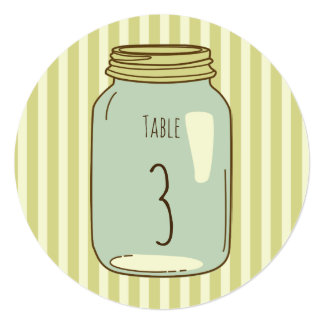 Mason Jar Round Table Number Pale Green Stripes Card