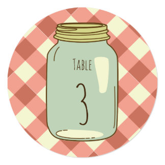 Mason Jar Round Table Number Red Gingham Card