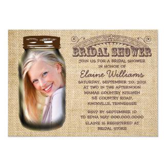Mason Jar Rustic Burlap Bridal Shower Card
