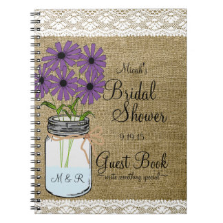 Mason Jar Rustic Country-Bridal Shower Guest Book- Spiral Notebook