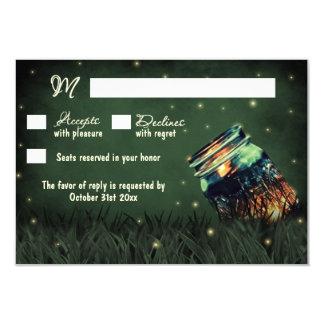 Mason Jar Rustic Firefly Wedding RSVP Cards