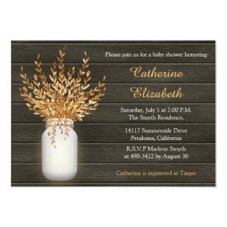 Mason Jar, Rustic, Wood Baby Shower Invitation