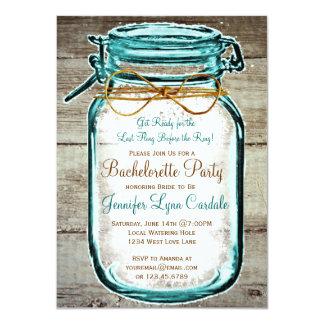 Mason Jar Rustic Wood Bachelorette Party Invites