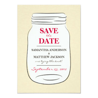 Mason Jar Save the Date Cards - Red