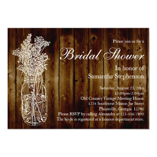 Mason Jar Stamp/Dark Wood Bridal Shower Invitation