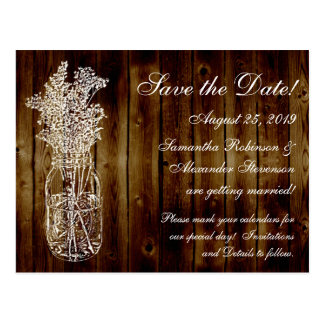 Mason Jar Stamp/Dark Wood Save the Date Postcard