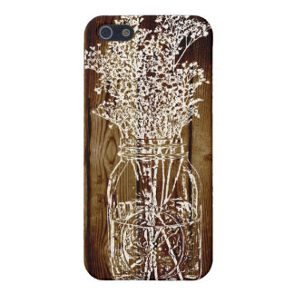 Mason Jar Stamp on Dark Wood Plank Cover For iPhone 5/5S
