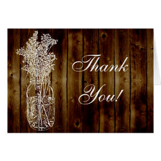 Mason Jar Stamp on Dark Wood Plank Thank You Card