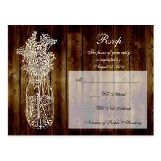 Mason Jar Stamp RSVP on Dark Wood Plank Postcard