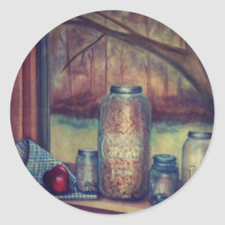 mason jar still life classic round sticker