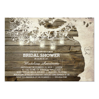 "Mason Jar String Light Bridal Shower Barn Wood 5"" X 7"" Invitation Card"