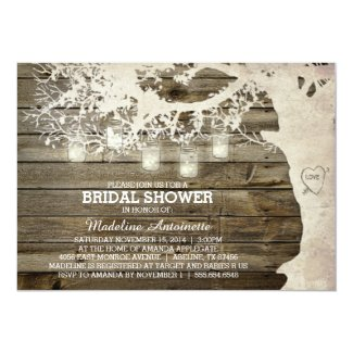 Mason Jar String Light Bridal Shower Barn Wood Invitation