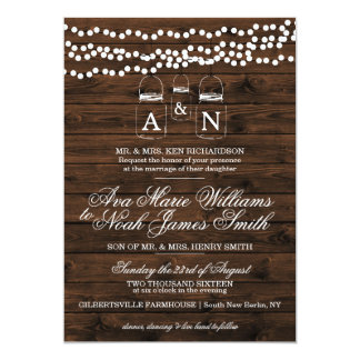 Mason Jar String Light Wedding Invitation
