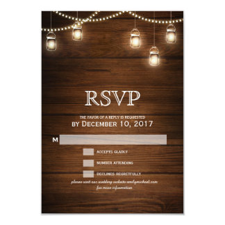 Mason jar string light wooden wedding RSVP Card