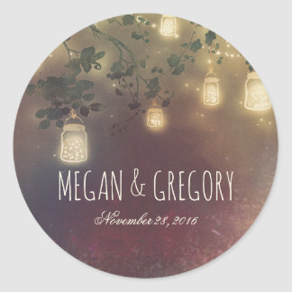 Mason Jar String Lights Branches Rustic Wedding Classic Round Sticker