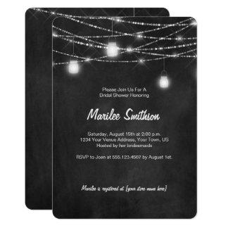 Mason Jar String Lights Bridal Shower Invitations