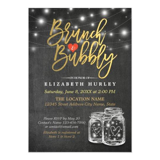 Mason Jar String Lights Chalkboard Brunch & Bubbly Card