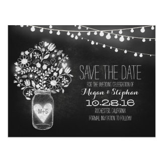 Mason jar & string lights chalkboard save the date postcard
