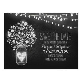 Mason jar string lights chalkboard save the date postcards