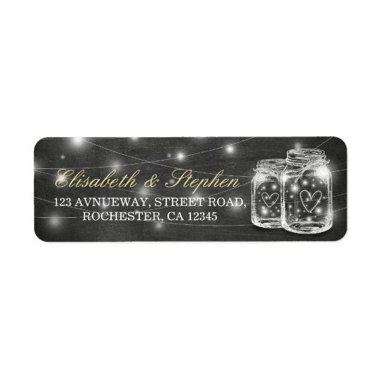Mason Jar String Lights Chalkboard Wedding Address Return Address Label