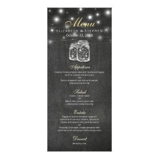 Mason Jar & String Lights Chalkboard Wedding Menu