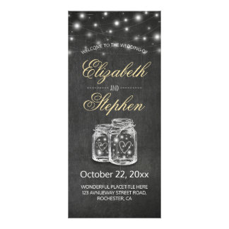 Mason Jar String Lights Chalkboard Wedding Program