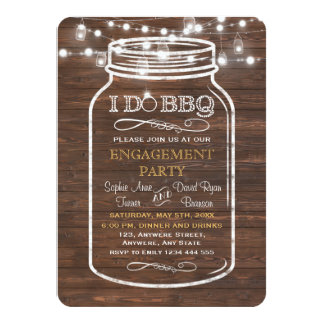 Mason Jar String Lights I DO BBQ Engagement Party Card