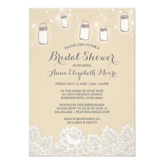 Mason Jar String Lights Lace Elegant Bridal Shower Card