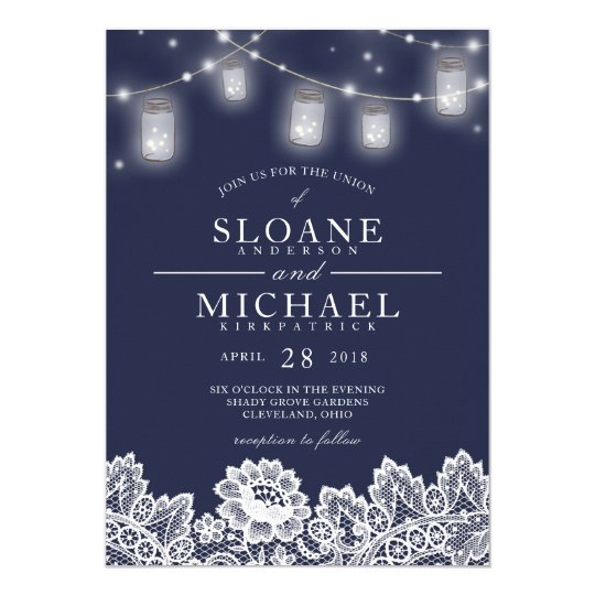 Mason Jar String Lights Lace Navy Blue Wedding Card