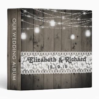 Mason Jar String Lights Lace Rustic Wedding Album Binder