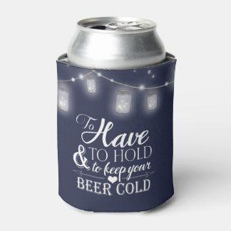 Mason Jar String Lights Navy Blue Wedding Beer Can Cooler