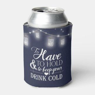 Mason Jar String Lights Navy Blue Wedding Can Cooler