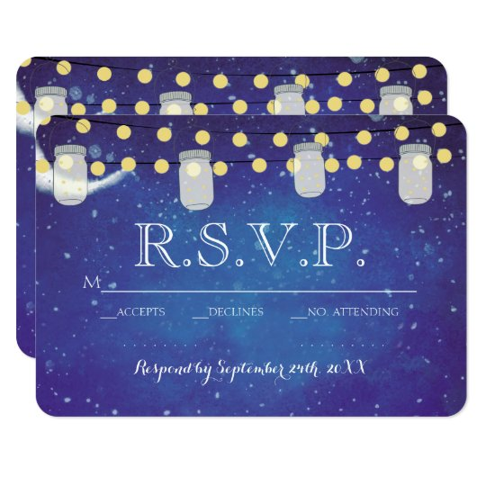 Mason Jar String Lights Night Wedding RSVP Card